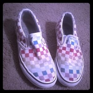 Rainbow checkered VANS